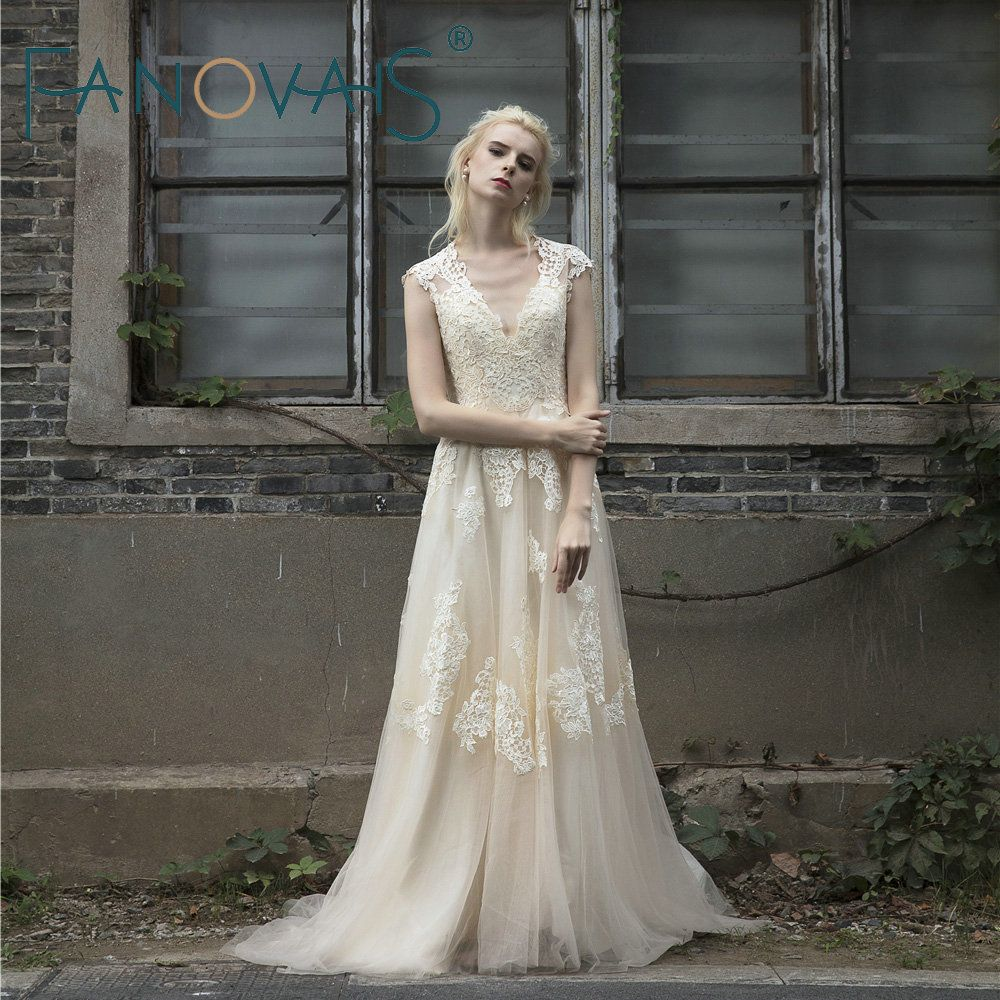 A line boho vintage lace wedding dress boho weddings pinterest