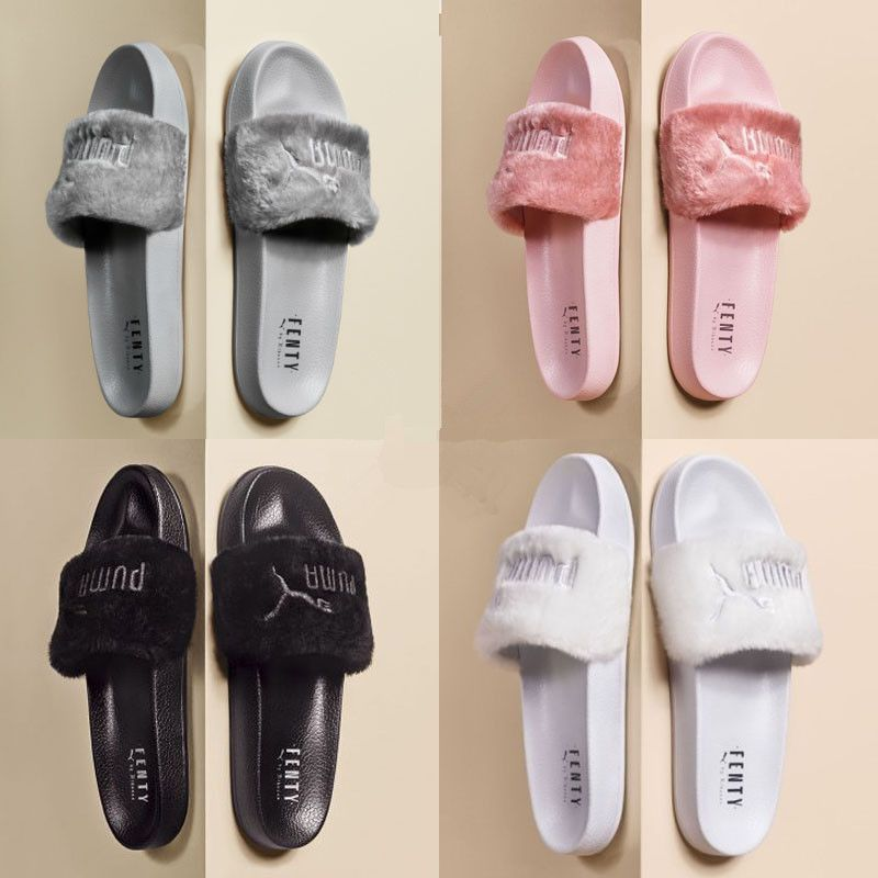0f26ccaed77e Nwt Puma X Rihanna Leadcat Fenty Fur Slide Slippers Black Pink Gray Women Sz
