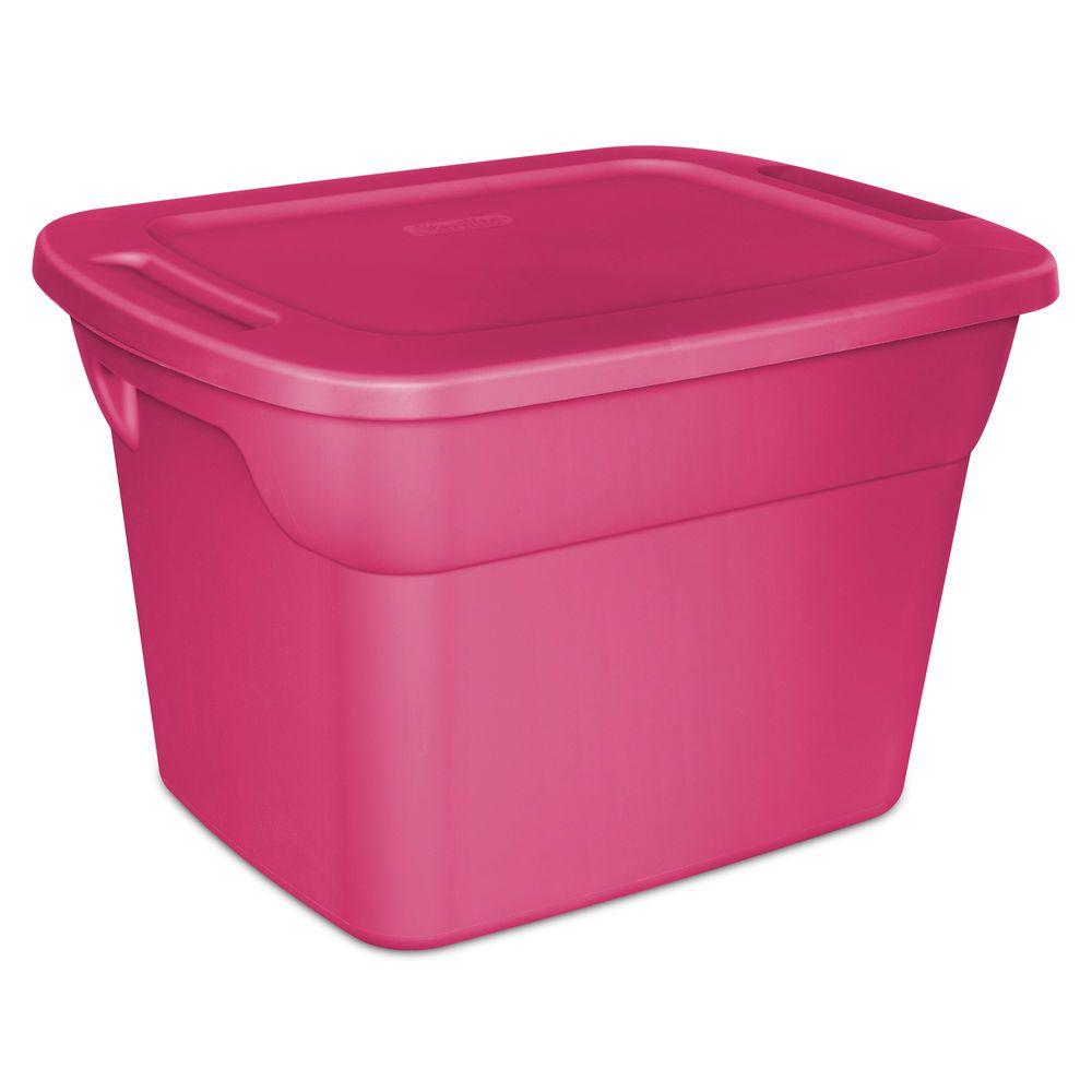 Plastic Storage Box 18 Gallon Tote 8 Case Stackable Bin Container Home Organizer