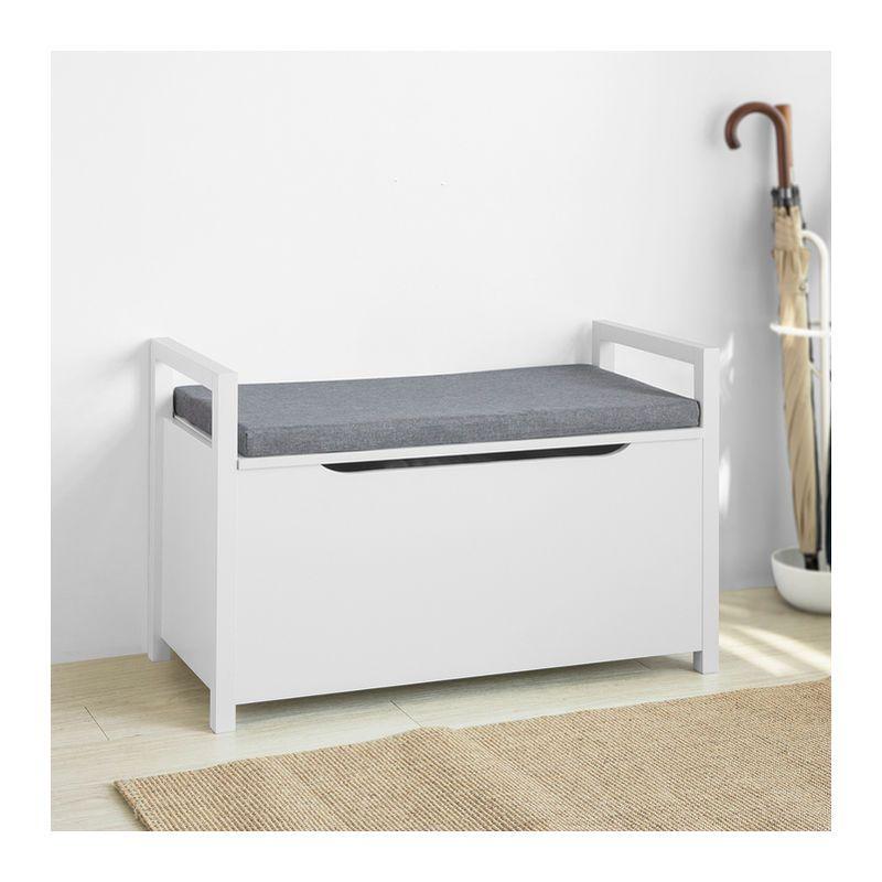 Banc De Rangement Meuble Bas Entree Avec Coussin Rembourre Rangement Jouets Pour Enfants Sobuy Fsr76 W Furniture Home Decor Storage
