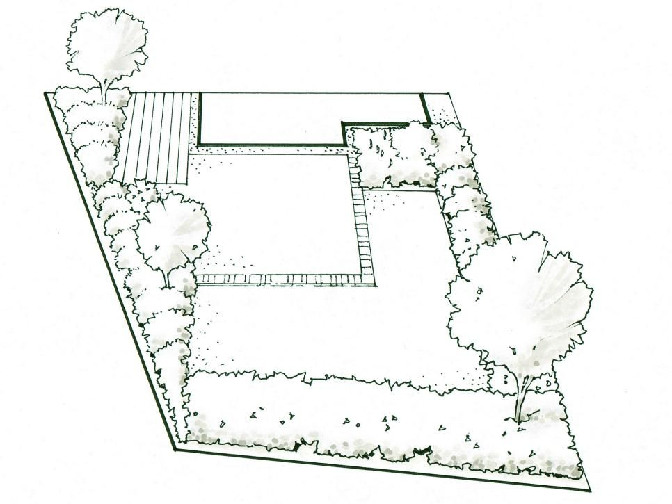 Landscaping Ideas for an Irregularly-Shaped Yard   Garden ... on L Shaped Backyard Layout id=31053