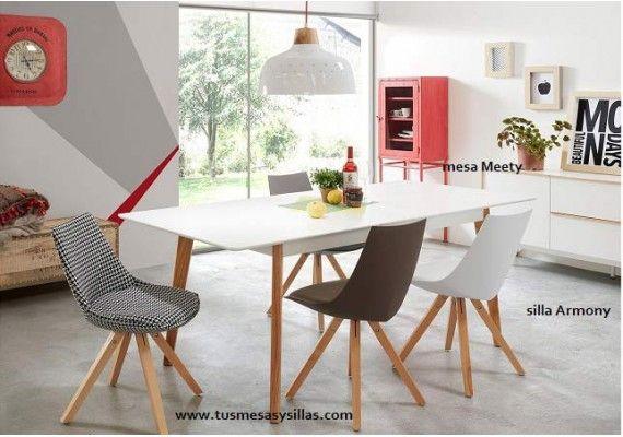 precio y oferta mesa estilo nordico escandinavo extensible con encimera blanca y patas en madera roble