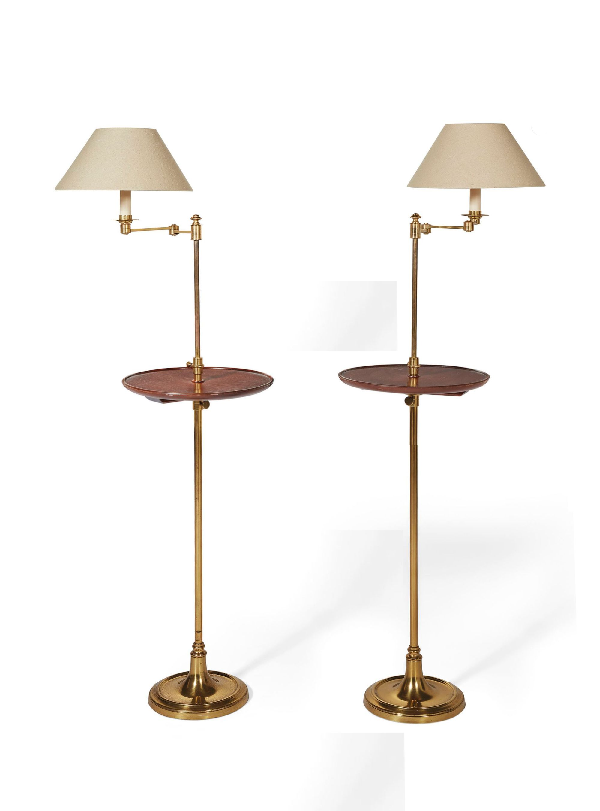 TWO BRASS FLOOR STANDING ADJUSTABLE READING LAMPS Rich