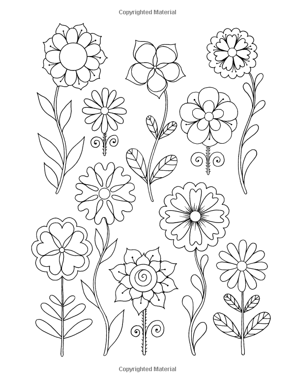 Amazon Com Happy Coloring Easy Flowers Coloring Book For Adults 9781518817557 Happy Co Flower Art Drawing Crewel Embroidery Tutorial Card Making Flowers