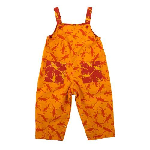 Boys Girls Reversible Twill Overalls Orange Lizards 2T $24.95