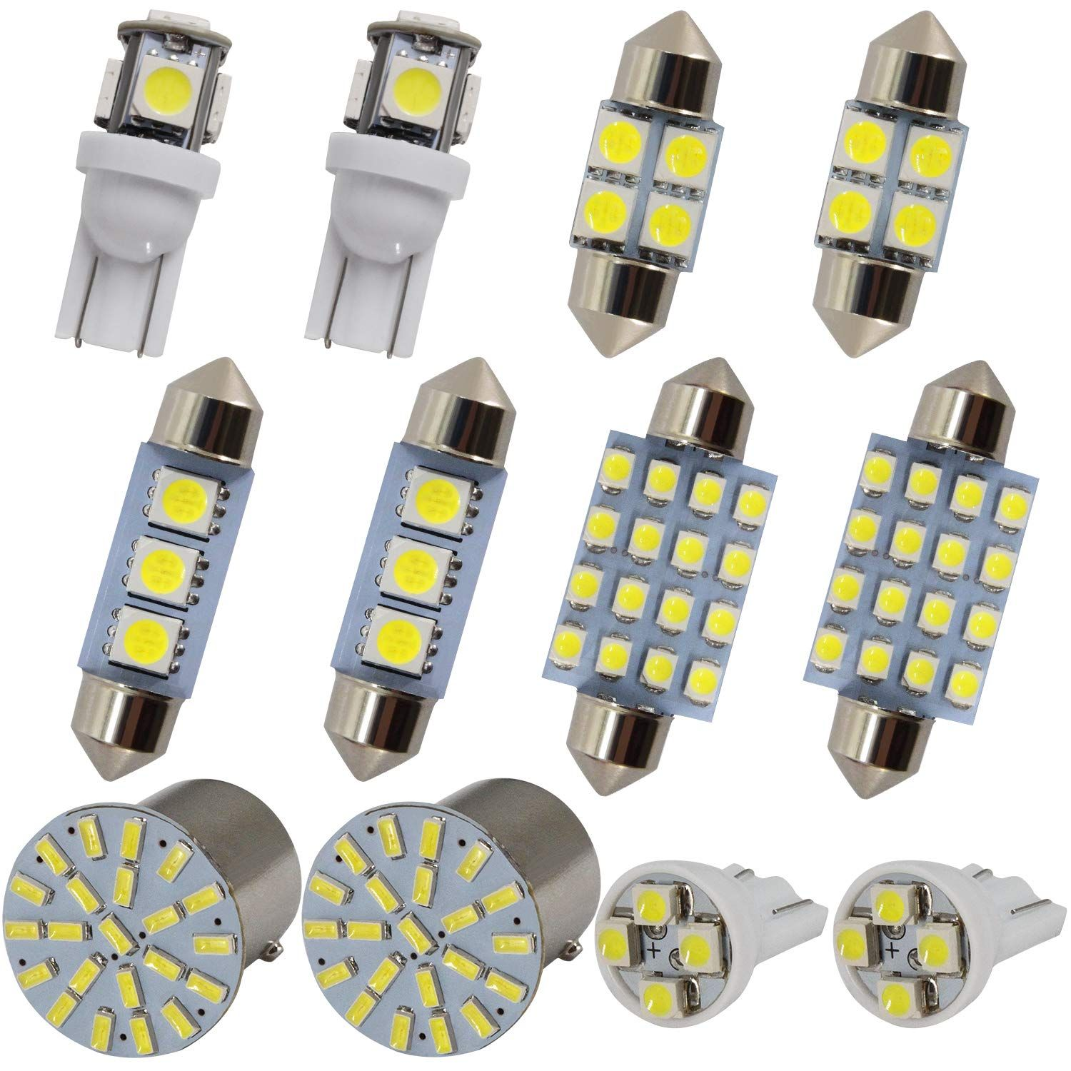 Festoon Led Bulbs T10 W5w Wedge Led Bulbs Bay15d 1157 Led Bulbs Combination 12 Pcs Usually Used For Side Light Position Lamp In 2020 Led Bulb Side Lights Car Interior