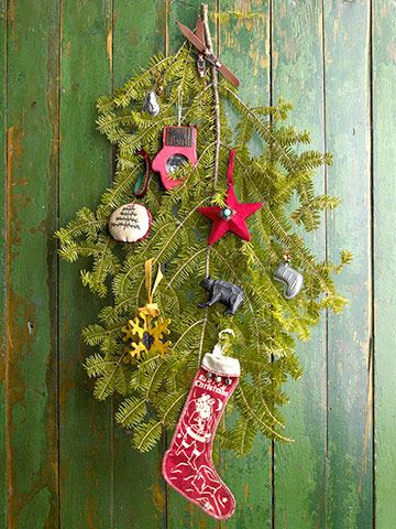 Use this concept to display ornaments instead of on a wreath. It will also smell good.