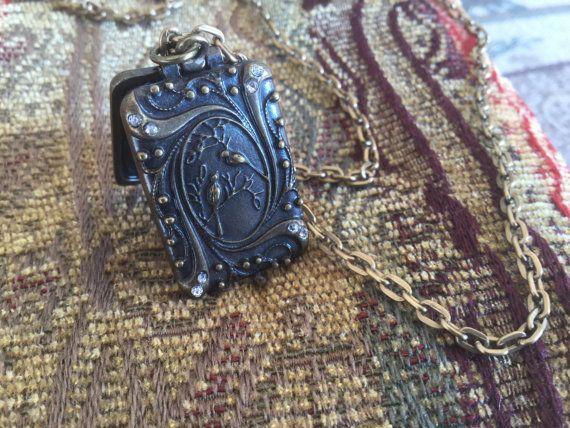 Locket Necklace Bird Necklace Woodland jewelry by Ivanwerks
