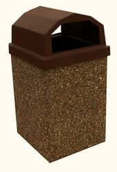 Outdoor Trash Can With Wheels Captivating Dome Top 40 Gallon Concrete Outdoor Garbage Can River Rock  Ash And Design Ideas