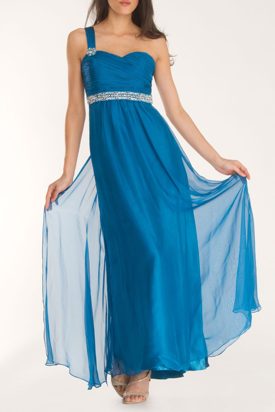 Dave & Johnny Olivia long toga dress in teal | Togas/ Roman ...