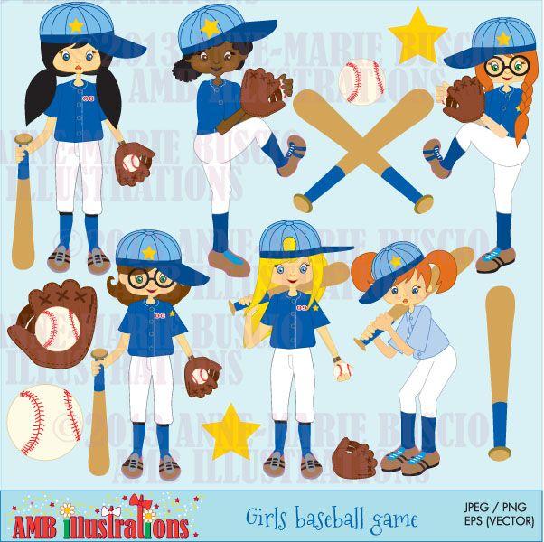 Baseball Girls Team Clipart - Girls ready to play softball or baseball. Set includes balls, softball/baseball players and more.
