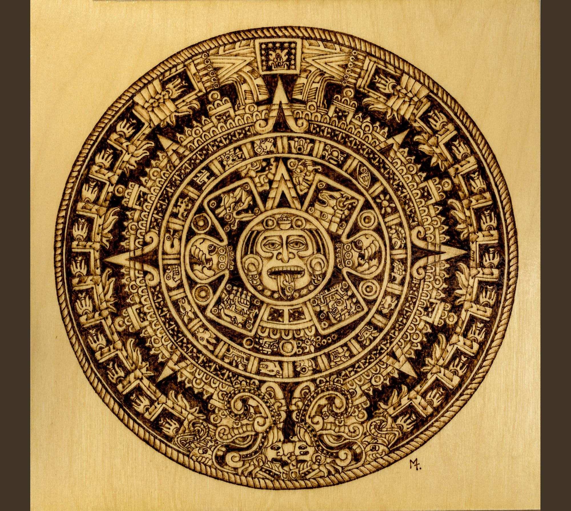Aztec Calendar Handmade Wall Art Wood Burning Sun Stone Sacred