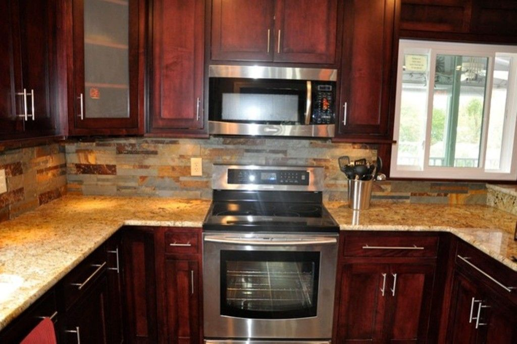 Golden Carmel Granite With Multi Colored Natural Slate Tile Backsplash Design This Beautiful Was Cut From Tiles Into And X Pieces