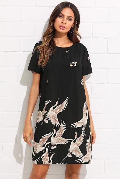 968f627e4c3bb Color: Black Style: Casual Material: 100% Polyester Neckline: Round Neck  Sleeve Length: Short Sleeve Silhouette: Shift Dresses Length: Short  Decoration: ...