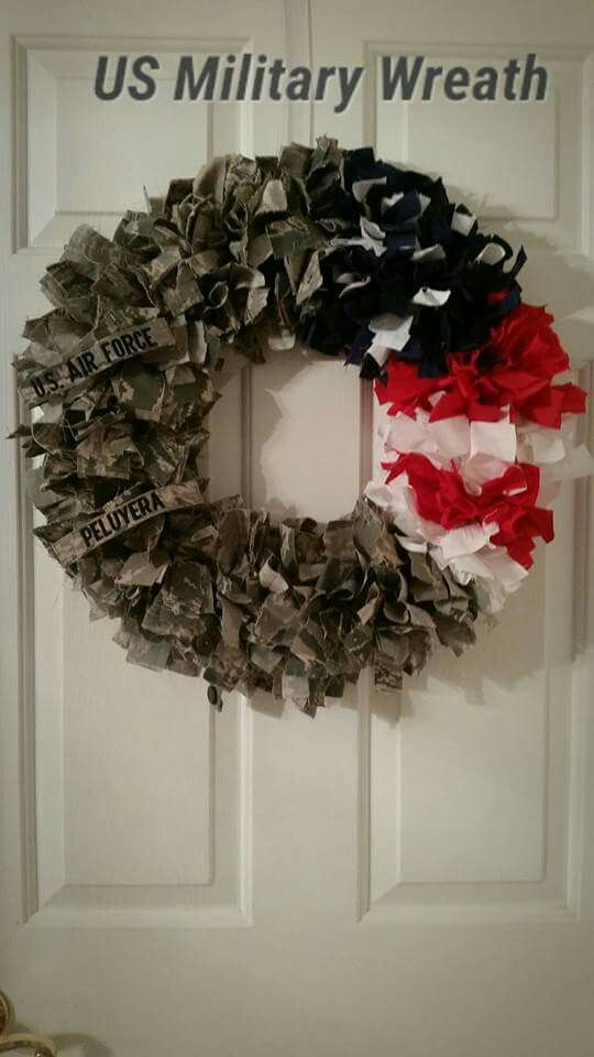 Military Wreath Made Out Of The Soldiers Uniform Military Wreath Army Wreath Military Crafts