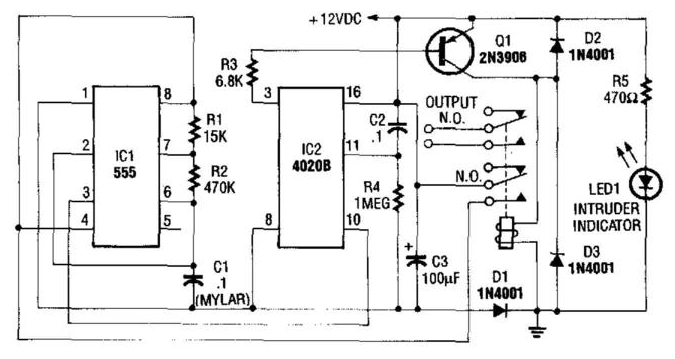 on delay timer circuit diagram