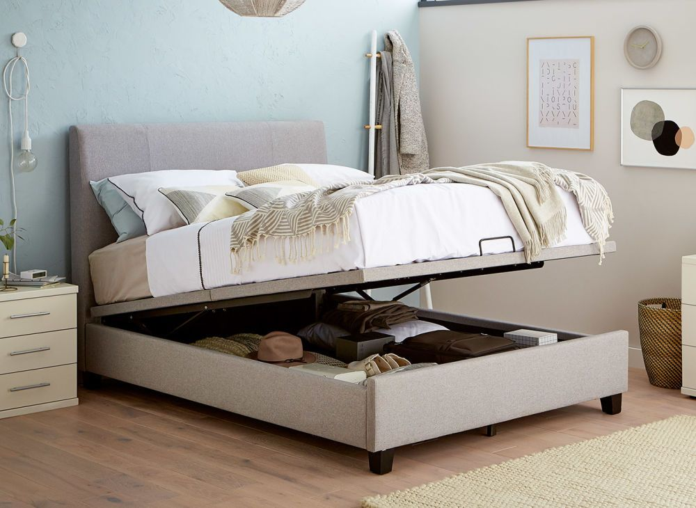 Francis Upholstered Ottoman Bed Frame Bed Frame With Storage Ottoman Bed Single Beds With Storage