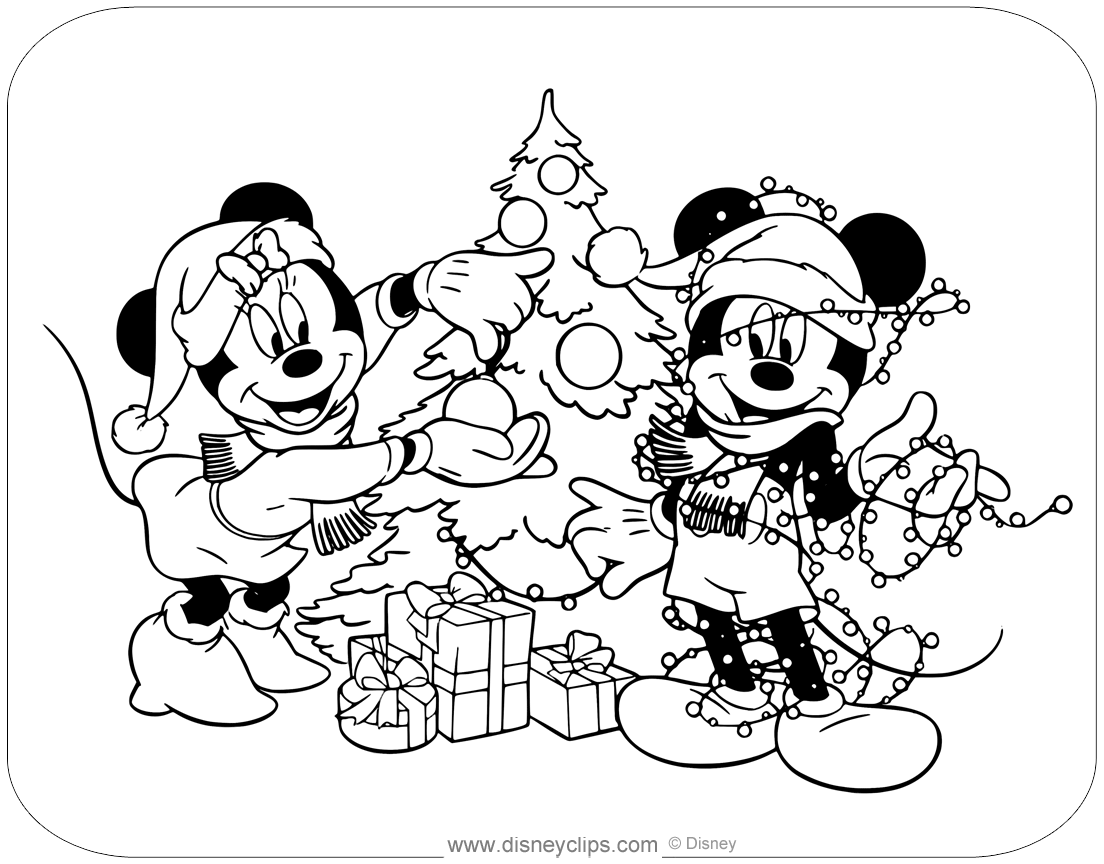Coloring Page Of Mickey And Minnie Mouse Decorating A Christmas Tree Disney Chris Minnie Mouse Coloring Pages Christmas Coloring Pages Minnie Mouse Pictures