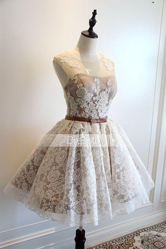 Cute white lace short prom dress, cute homecoming dress | Short prom ...