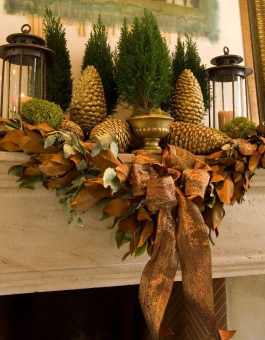 Gold Mantel Christmas Fireplaces Decoration Ideas
