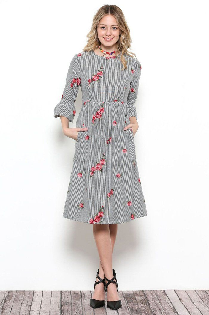 296bbe3bb5d85 Victoria Floral Embroidery Dress | Clothes | Floral embroidery dress ...