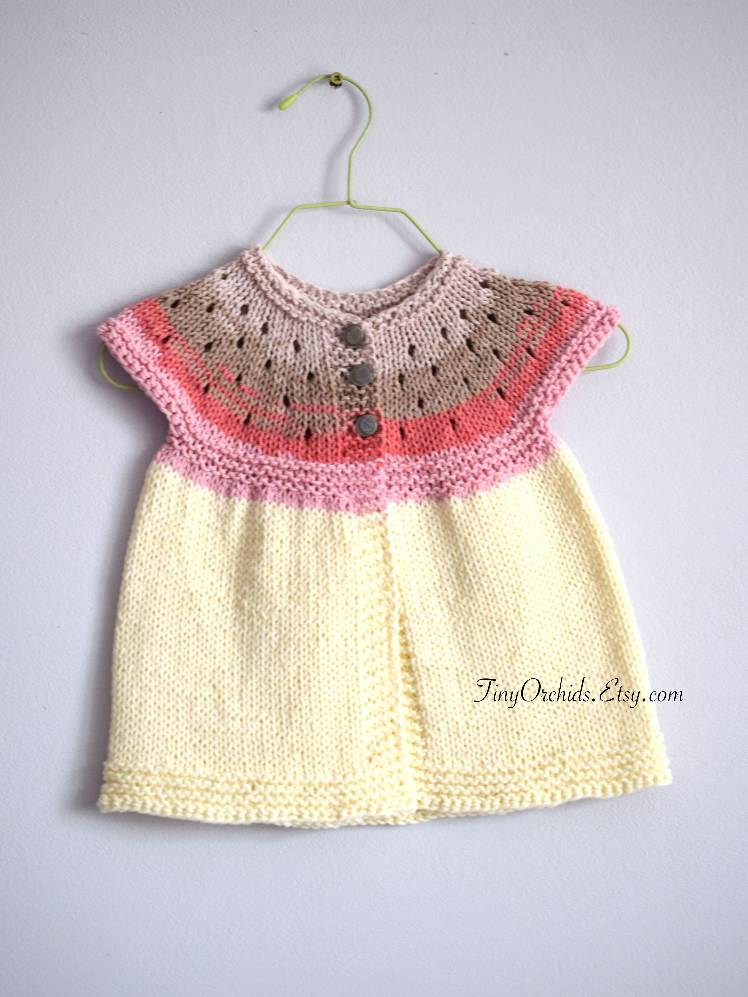 Baby girl summer cardigan in pink and cream, hand knit baby cardi, cotton cardigan with gray buttons, baby summer clothes, 0-3 month by TinyOrchids on Etsy