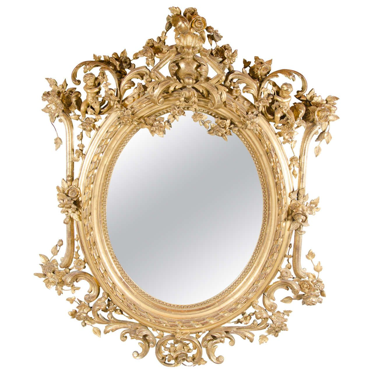 French rococo oval mirror with 24 karat gold gilt and for Old style mirror