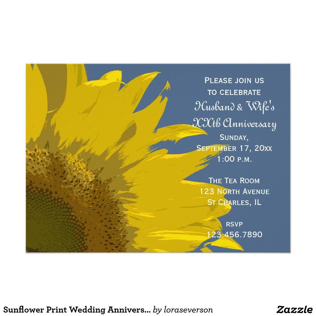 Sunflower Print Wedding Anniversary Party Invite | Sunflower wedding ...