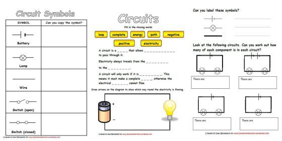 Electricity & Circuits Worksheets | Simple circuit, Elementary worksheets,  Electrical circuit diagramPinterest