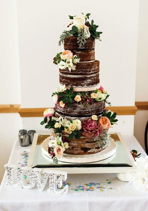 Rustic chic lower decorated brown wedding cake; Featured Cake: Sweet Thought Cakes