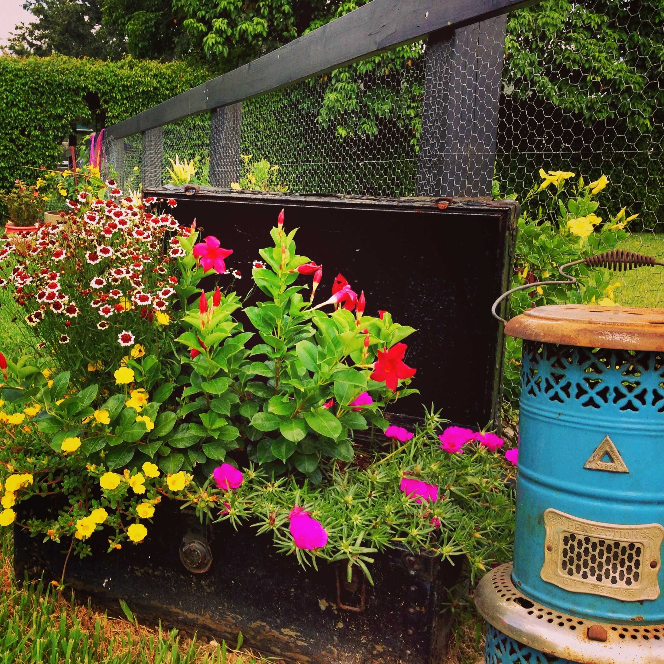 22 Incredible Budget Gardening Ideas: Upcycled Trunk Turned In To Beautiful Planter.