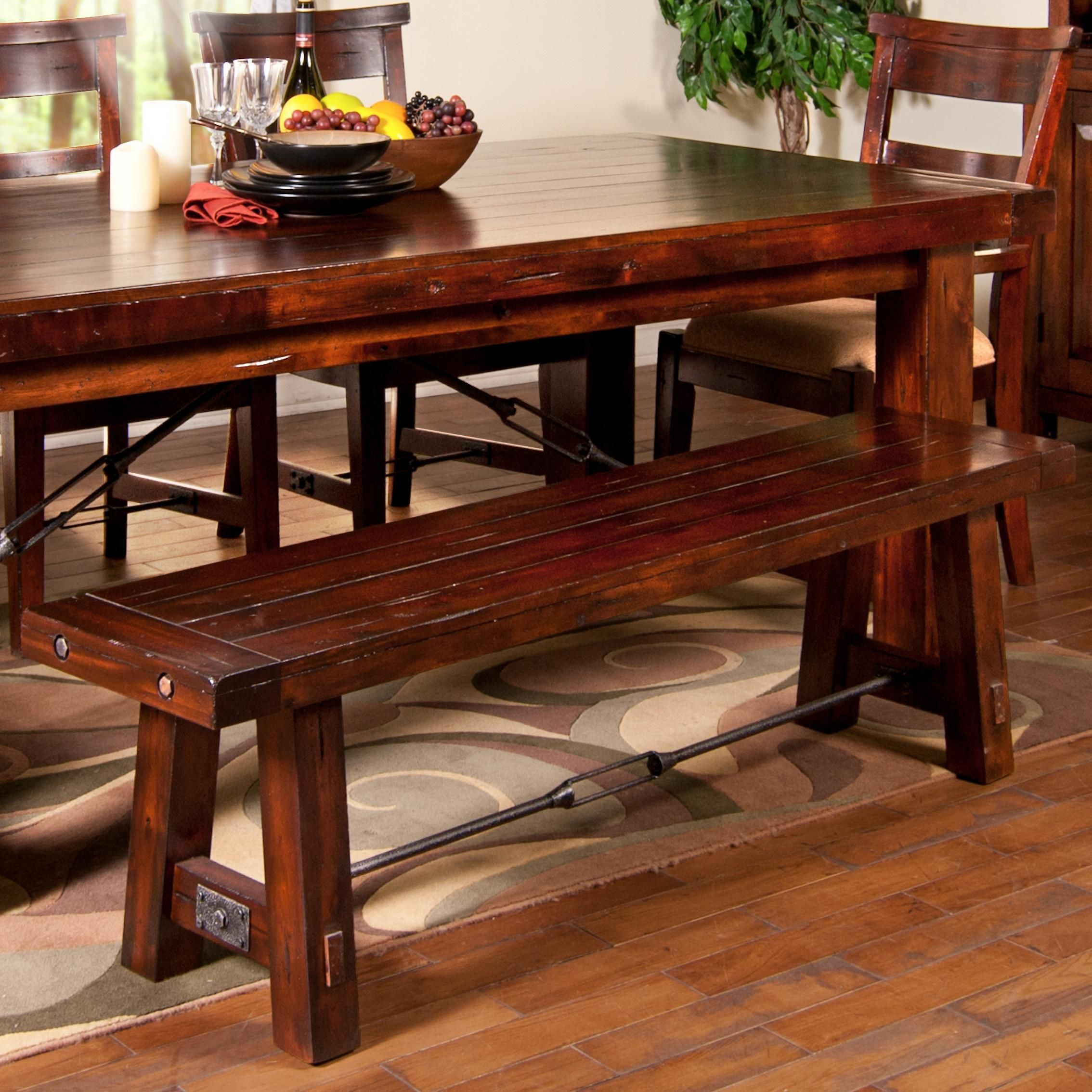 Vineyard Dining Bench With Wood Seat And Metal Stretcher From Wolf Furniture Kitchen Table Bench Dining Bench Stone Dining Table