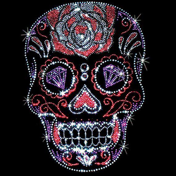 Day of The Dead Unisex Hoodie Sweatshirt Pink Rhinestone Sugar Skull