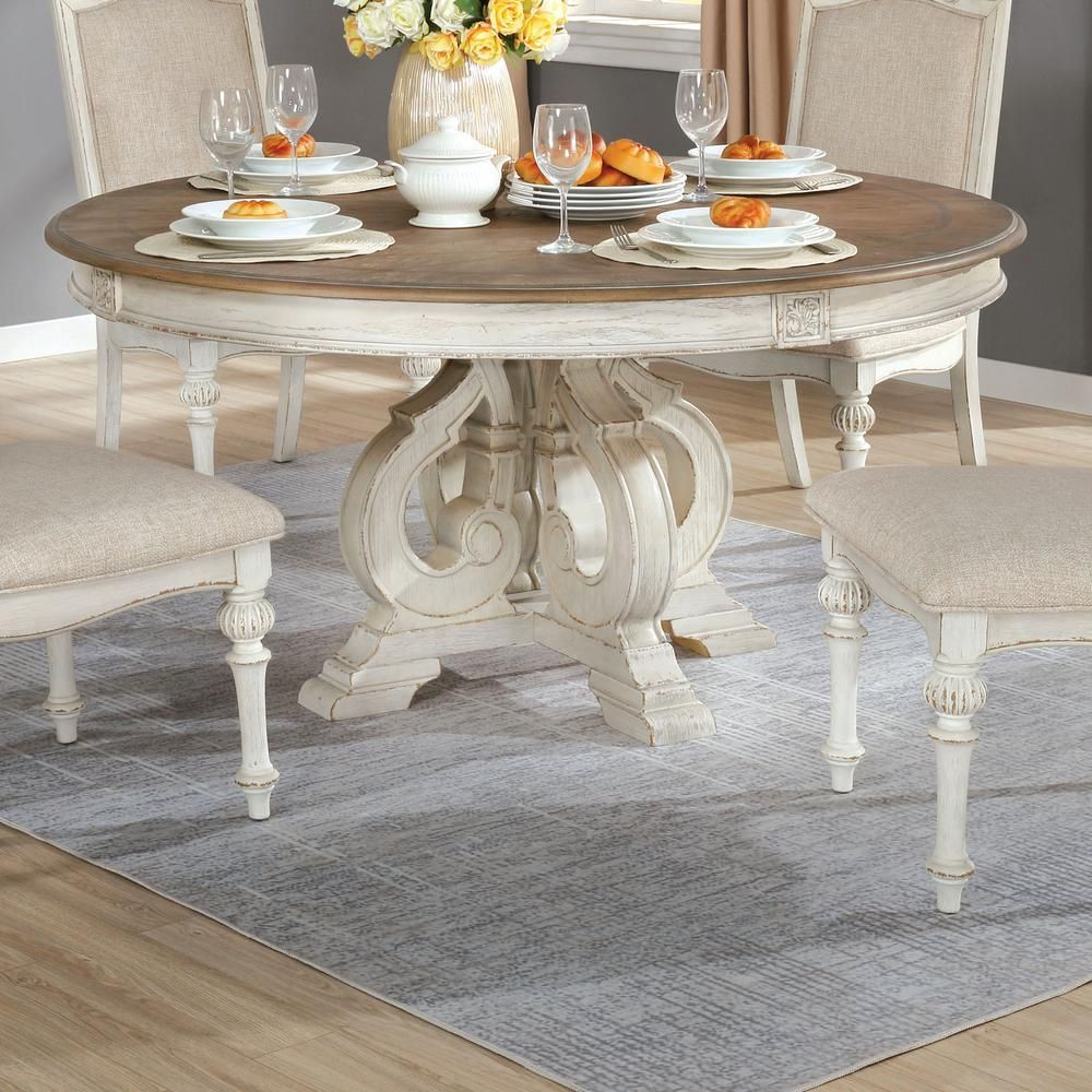 Furniture Of America Willadeene Antique White Round Dining Table Idf 3150wh Rt The White Round Dining Table 60 Inch Round Dining Table Country Dining Tables [ 1000 x 1000 Pixel ]