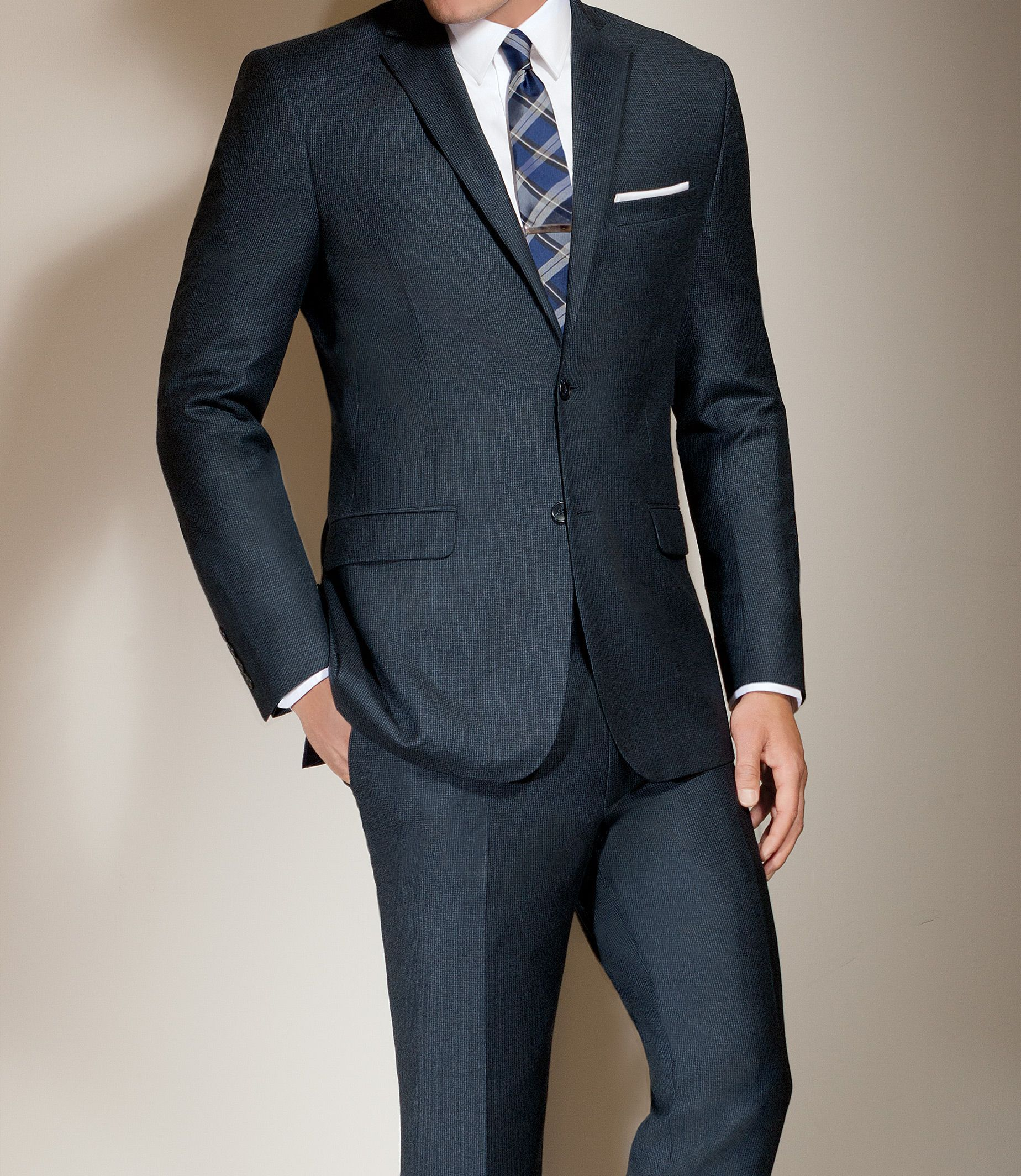 Slim Fit 2-Button Wool/Cashmere Plain Front Suit CLEARANCE