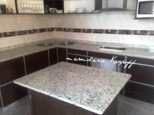 Mesadas de cocina en granito marmoles y silestone bachas re ...