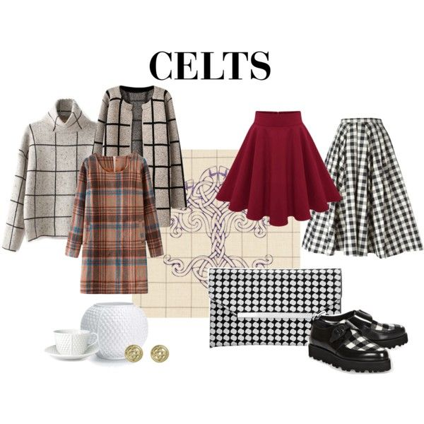 Celts by emigdilon on Polyvore featuring moda, Schumacher, Chicnova Fashion, Michael Kors, The Limited, Jewel Exclusive, MSGM, Tiffany & Co., plaid and ancientcivilization
