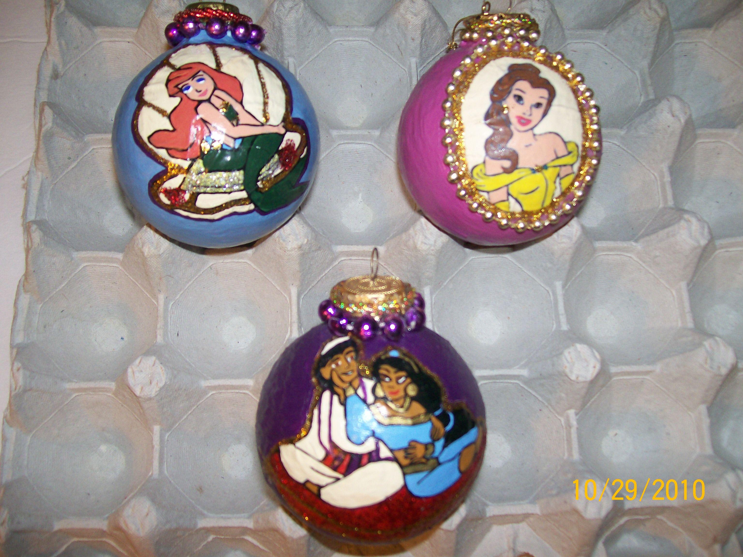 Disney Princess Homemade Ornaments Arielle Belle And Jasmine Disney Christmas Ornaments Disney Christmas Tree Homemade Christmas Decorations