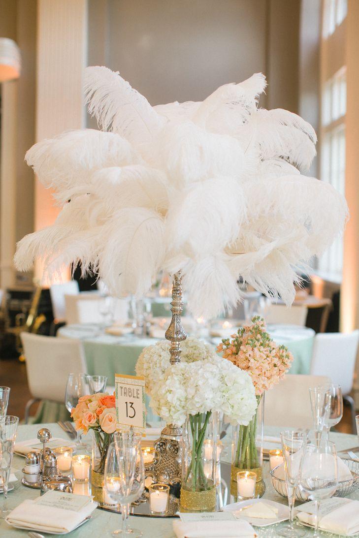 Gatsby glam feather centerpieces rosetree wedding