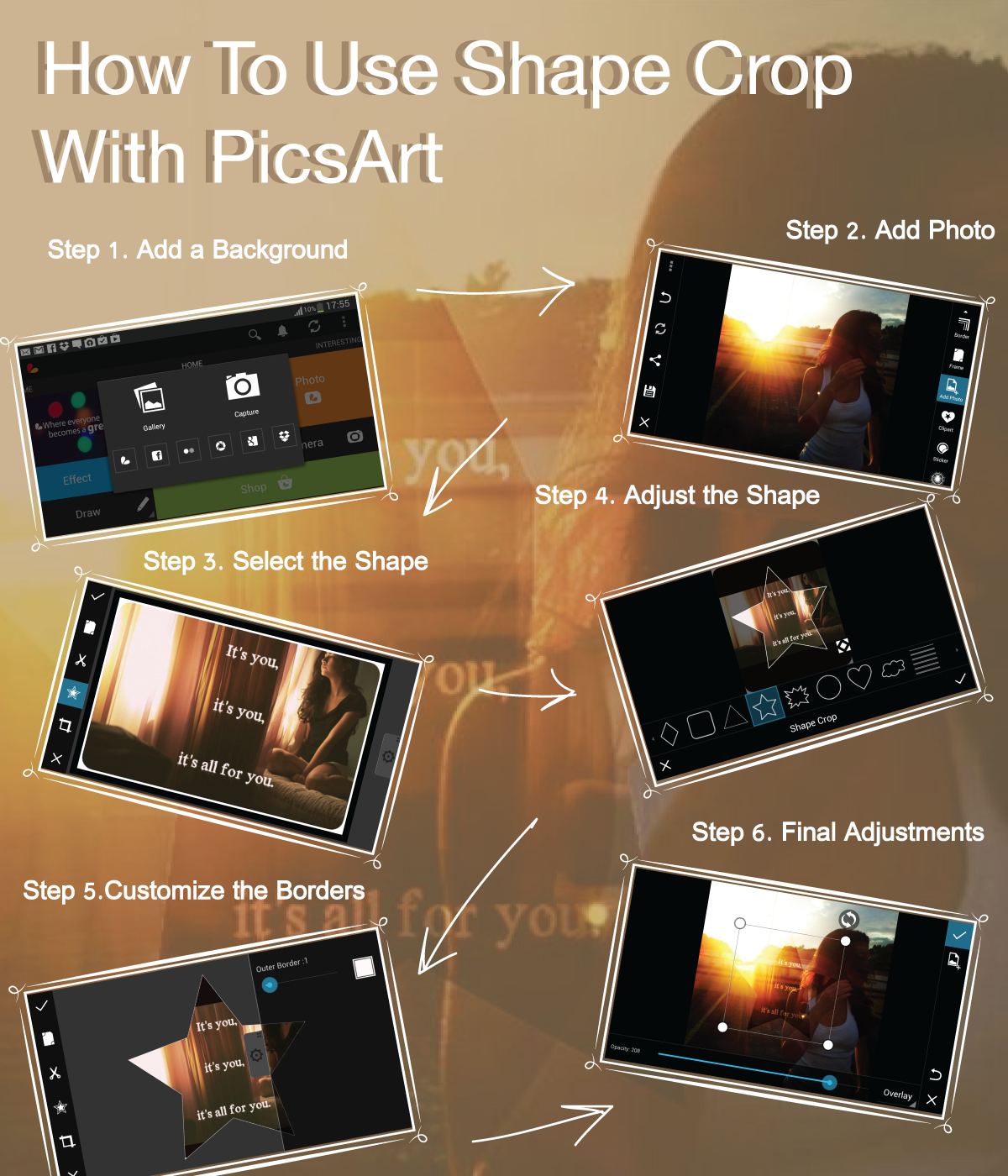 Check out PicsArt Shape Crop tutorial and