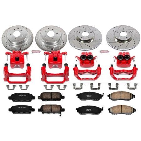 Power Stop Front and Rear Z23 Evolution Brake Pad and Rotor Kit with Red Powder Coated Calipers KC114 - Walmart.com