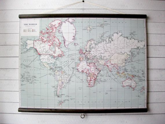 World map 1915 vintage pull down reproduction canvas fabric or large canvas vintage pull down style school map with oak wood trim world map 1915 gumiabroncs Image collections