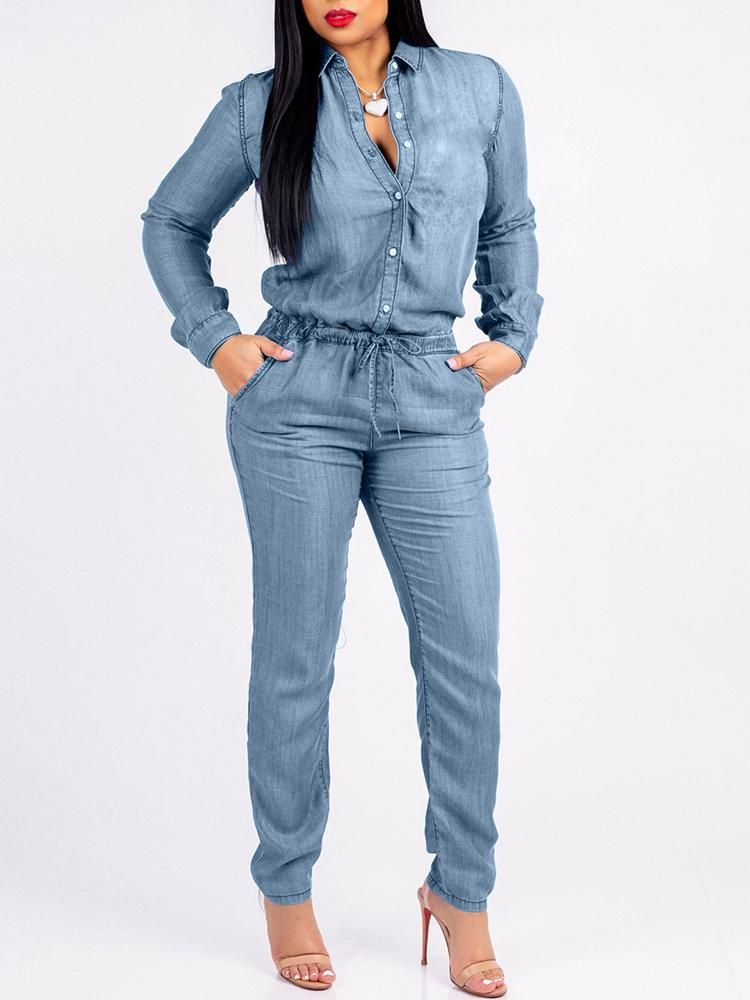 f0a89f58ce06 Denim Long Sleeve Pocket Drawstring Jumpsuit