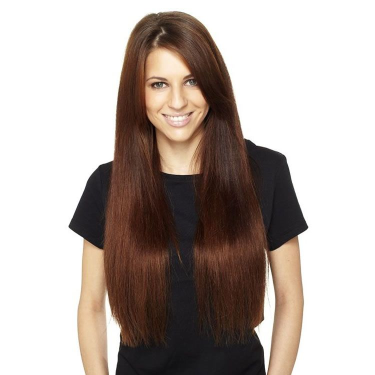 Flip In 100 Remy Human Straight Hair Extensions 6 Medium Brown