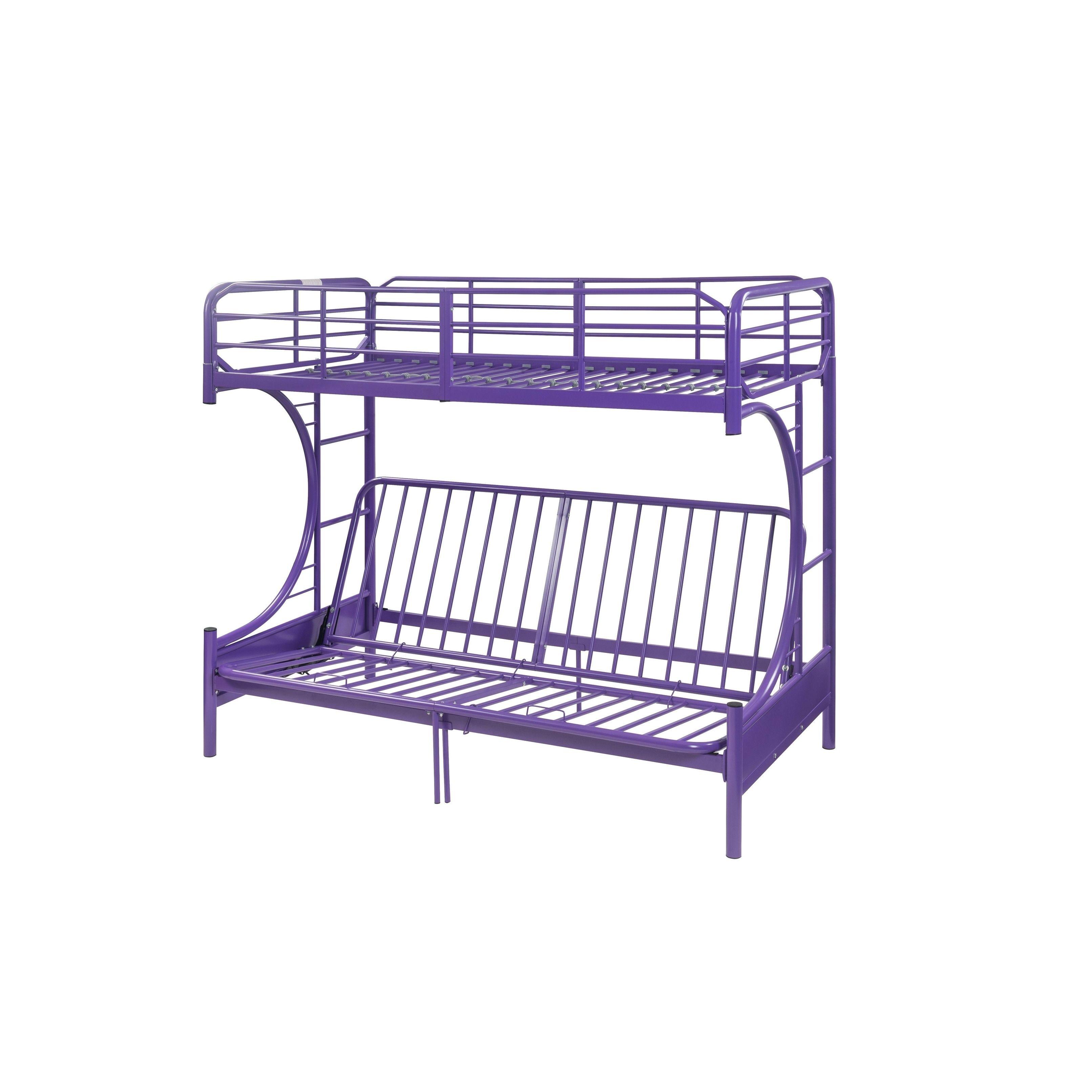 acme eclipse purpletwin over full futon bunk bed purple size twin