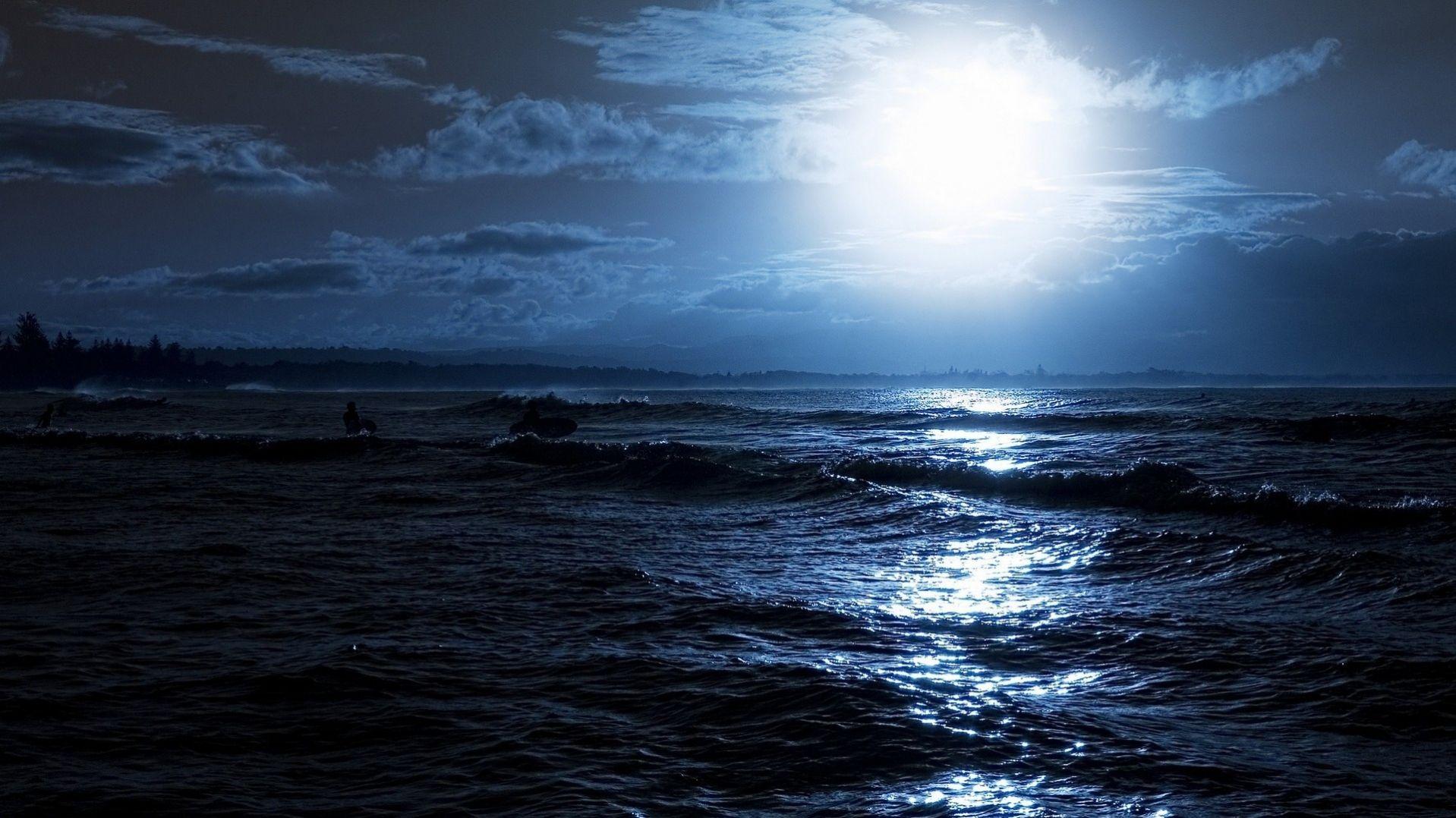 Dark Sea At Night Wallpapers In HD