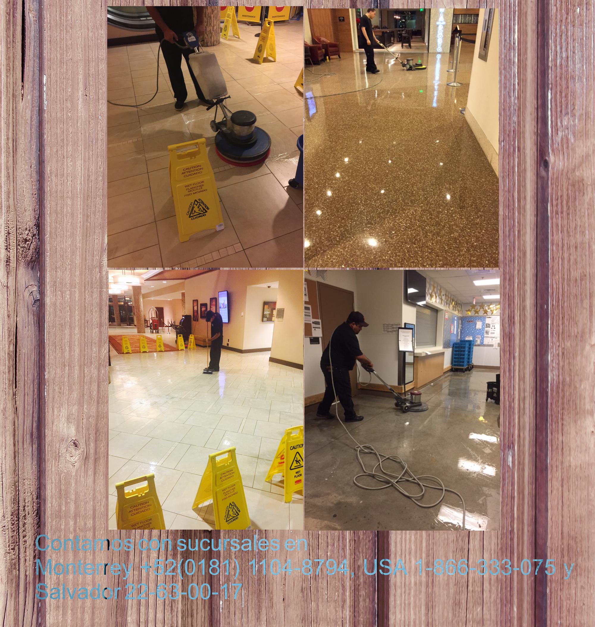 Contamos con servicios de: - Cuidado de piso mármol, granito y cerámicos - Mantenimiento, lavado y abrillantado de pisos - Lavado de alfombras - Lavado de tapicería - Mantenimiento en pisos madera - Limpieza y desinfección detallada de regaderas y baños - Servicios de Post-Construcción - Limpieza en Cristales (Altura máximo 8 metros) - Servicios para eventos especiales - Servicios Limpieza de emergencia  Contamos con sucursales en Monterrey +52(0181) 1104-8794, USA 1-866-333-075 y Salvador…