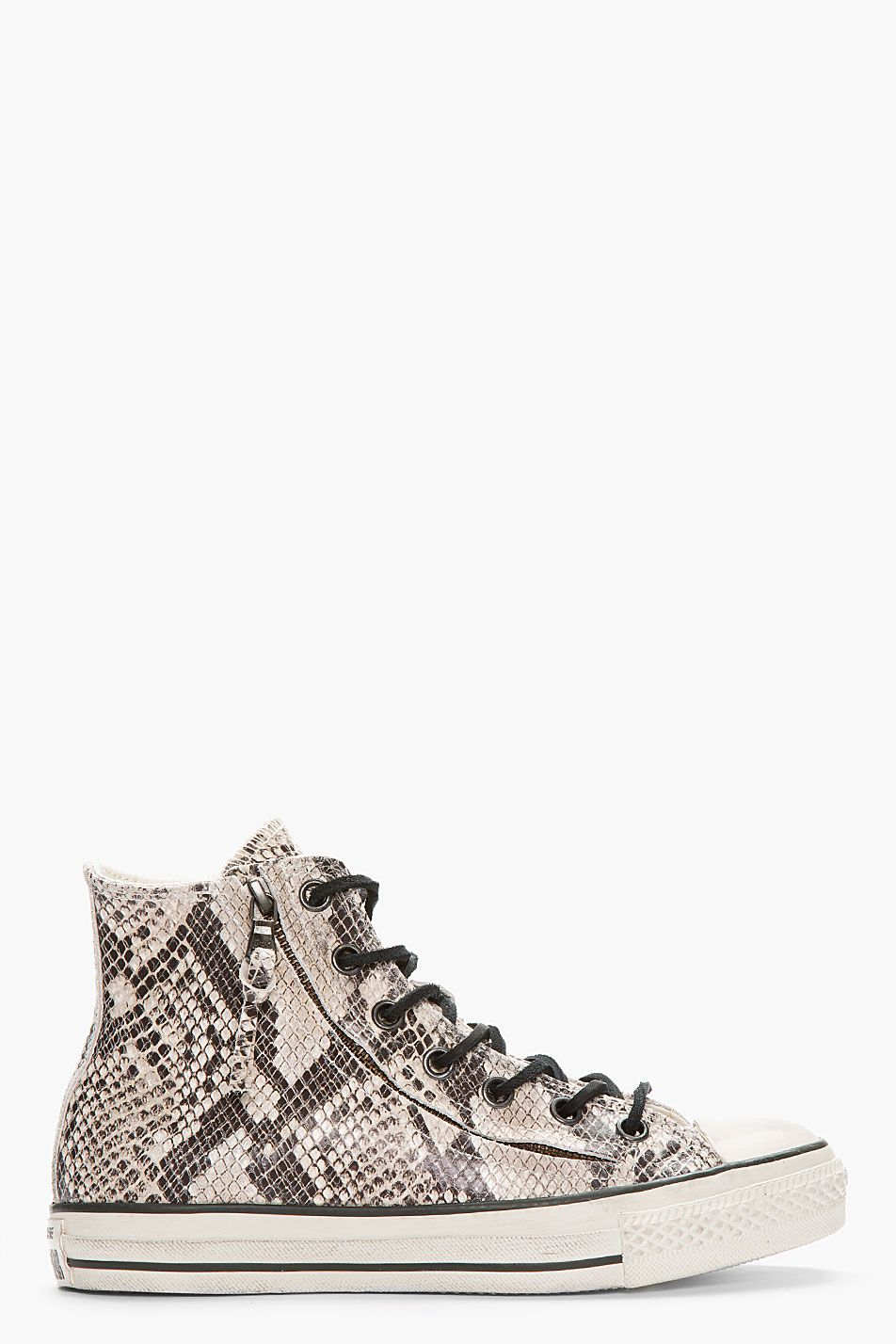 f9e647ae6f6 CONVERSE BY JOHN VARVATOS Ivory Snakeskin Zippered Converse X All-Star High-Top  Sneakers