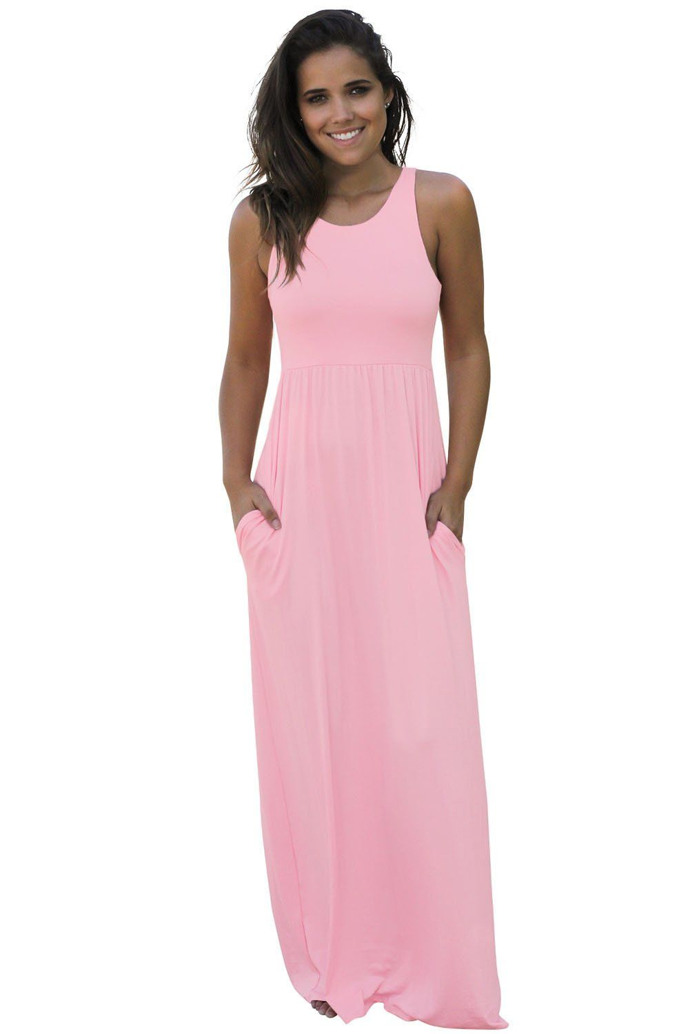Casual Pale Pink Racerback Maxi Dress with Pockets