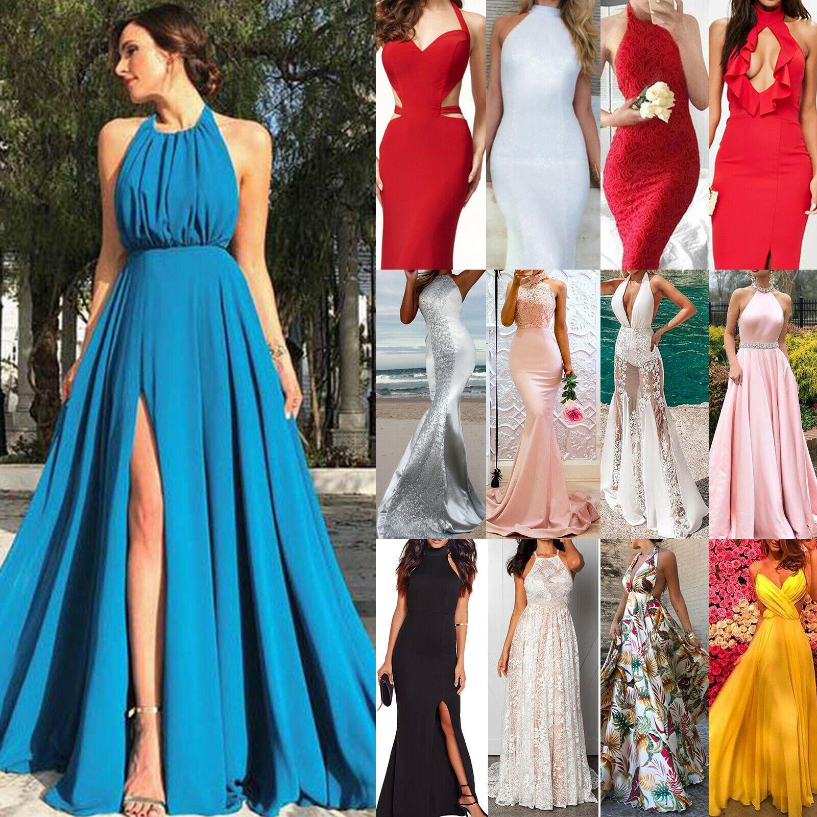 Damen Abendkleid Brautjungfern Cocktailkleider Ballkleid Formal Party Maxi Kleid
